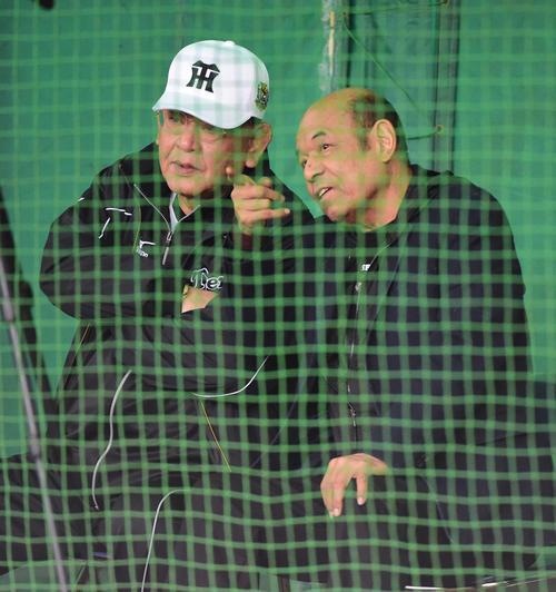 ブルペンで話す江夏臨時コーチ(左)と衣笠氏(2015年2月3日撮影)