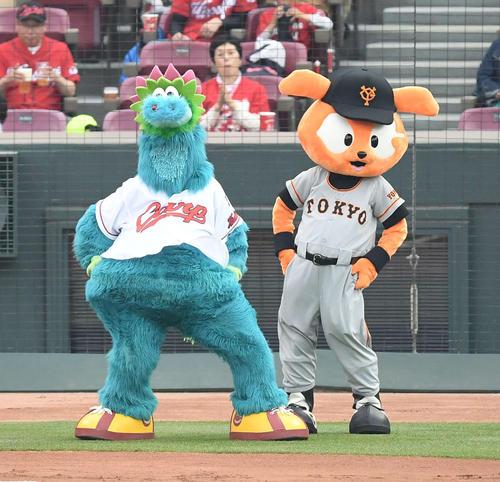 広島対巨人 試合開始前、腰を振るスラィリー(左)とジャビット(撮影・鈴木みどり)