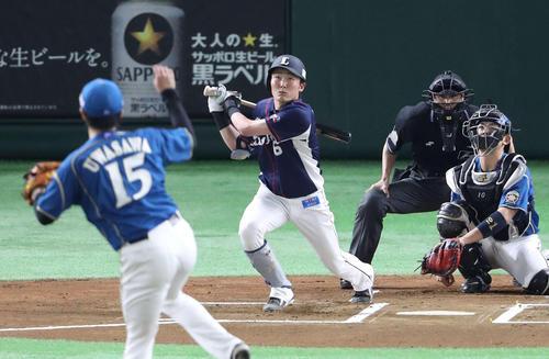 日本ハム対西武 1回表西武1死、2番打者の源田は中飛に倒れる。投手上沢(撮影・河野匠)