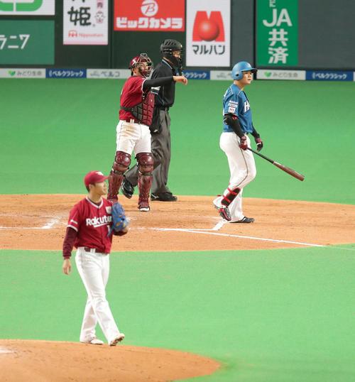 日本ハム対楽天 7回裏日本ハム1死、清宮は三振に終わる。投手は楽天則本(撮影・佐藤翔太)