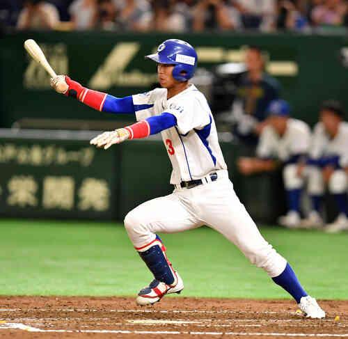 王子対SUBARU 2回表王子2死三塁、大杉は中前に適時打を放つ(撮影・柴田隆二)