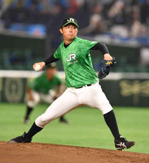 JR北海道クラブ対JR西日本 先発したJR北海道クラブの佐藤(撮影・柴田隆二)