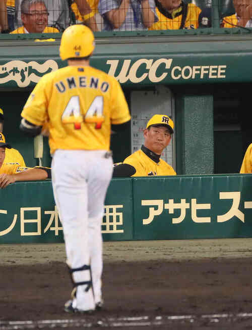 9回裏阪神2死満塁、金本監督は梅野の左飛を好捕され渋い表情(撮影・宮崎幸一)