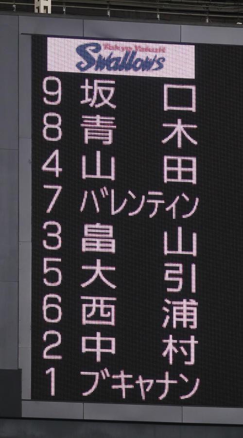 ヤクルトの先発メンバー(撮影・林敏行)