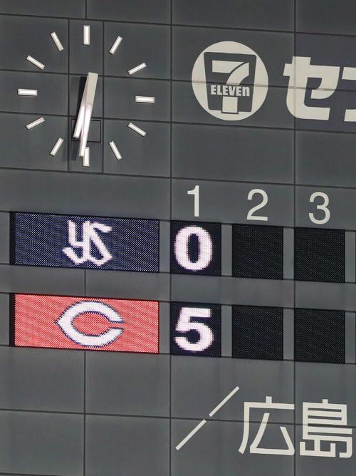 広島対ヤクルト 1回裏に広島は5点を挙げる(撮影・江口和貴)