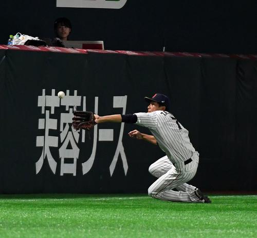 日本対台湾 3回表台湾2死、陳傑憲の打球を好捕する左翼手の田中和基(撮影・今浪浩三)