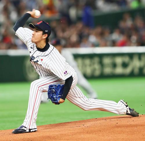 日本対MLB 日本先発の岸(撮影・足立雅史)