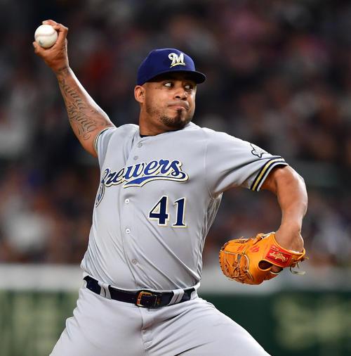 日本対MLB MLB先発ゲラ(撮影・清水貴仁)