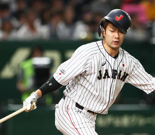 日本対MLB 7回裏日本2死、柳田は空振り三振に倒れる(撮影・足立雅史)