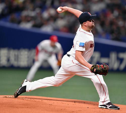 MLB対日本 MLB先発で力投するジョンソン(撮影・滝沢徹郎)