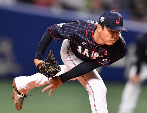 MLB対日本 日本先発で力投する笠原(撮影・滝沢徹郎)