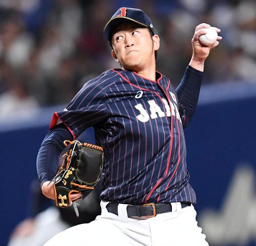 MLB対日本 日本2番手の岩貞(撮影・前岡正明)