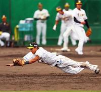 阪神熊谷、遊撃取りアピールの横っ跳び好捕&好走塁 - プロ野球 : 日刊スポーツ