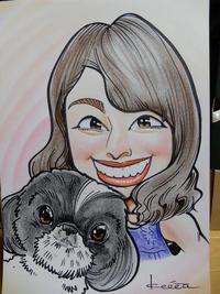 ソフトバンク甲斐の夫人と愛犬ハナの似顔絵