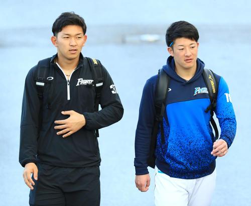 宿舎から徒歩で球場に向かう日本ハム吉田輝(右)と柿木(撮影・江口和貴)