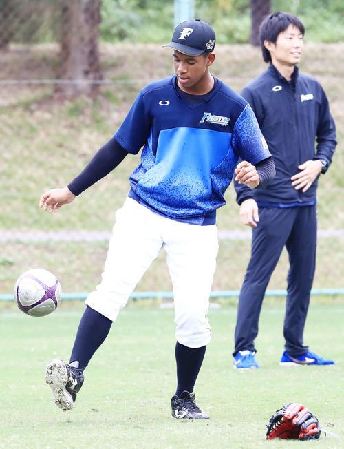 サッカーボールでリフティングする日本ハム万波(撮影・江口和貴)