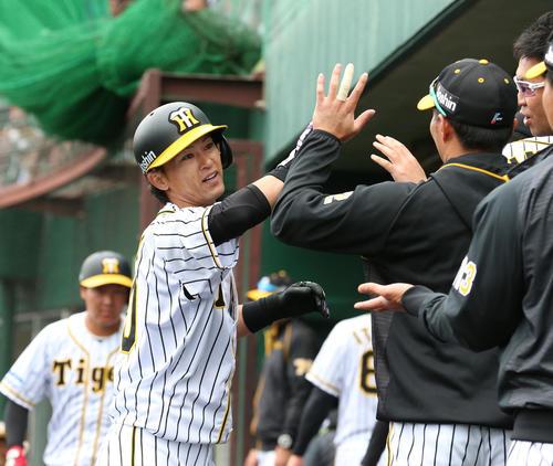 1回裏阪神無死、上本博紀は中越え本塁打を放ちナインとハイタッチ(撮影・上山淳一)