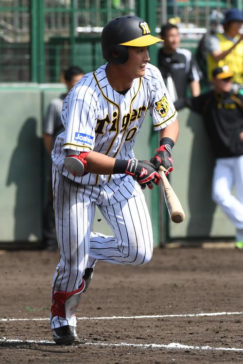 3回裏阪神2死一塁、木浪聖也は右前安打を放つ(撮影・奥田泰也)