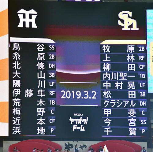 ソフトバンク対阪神 両軍スタメン(撮影・清水貴仁)