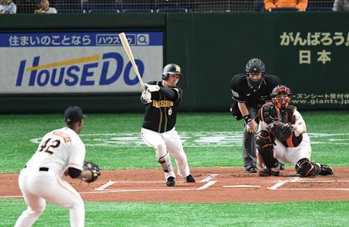 巨人対阪神 1回表阪神1死、近本は左前打を放つ。投手メルセデス(撮影・山崎安昭)