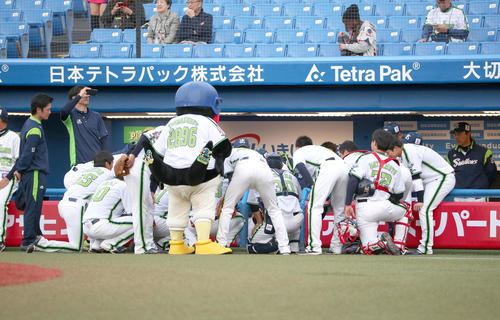 ヤクルト対阪神 試合前、円陣を組むヤクルトナイン(撮影・上山淳一)