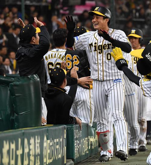 阪神対巨人 9回裏阪神2死一、三塁、木浪聖也は右越え3点本塁打を放ちナインとタッチを交わす(撮影・奥田泰也)
