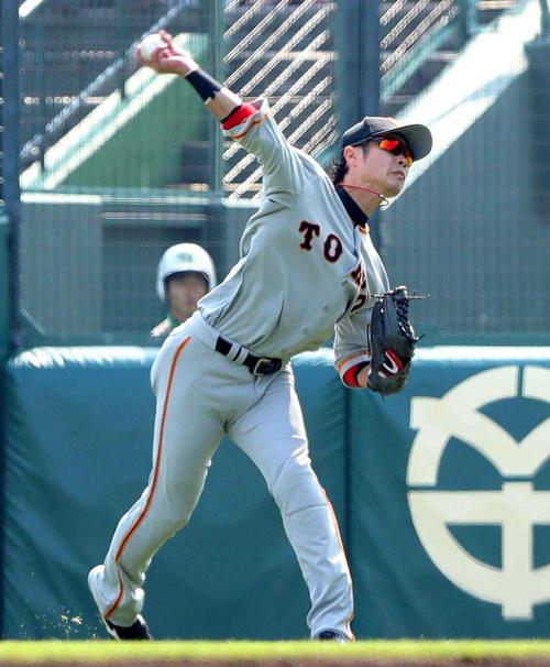 阪神対巨人 3回裏阪神1死、右翼亀井は西の打球を捕球してすぐに一塁へ送球してライトゴロにする(撮影・松本俊)