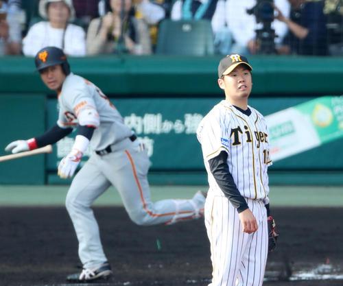 阪神対巨人 7回表巨人2死二塁、西は山本に左越え適時三塁打を打たれ失点する(撮影・加藤哉)