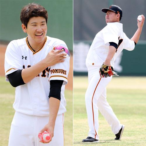 (左から)練習中、笑顔を見せる巨人菅野とキャッチボールする巨人山口(撮影・垰建太)