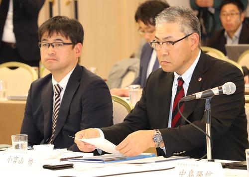 有識者会議に出席した早大・小宮山監督(右)と筑波大・川村監督