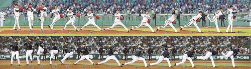 上から日本ハム戦で投球するオリックス山本の連続写真、下は西武戦で投球するソフトバンク甲斐野の連続写真
