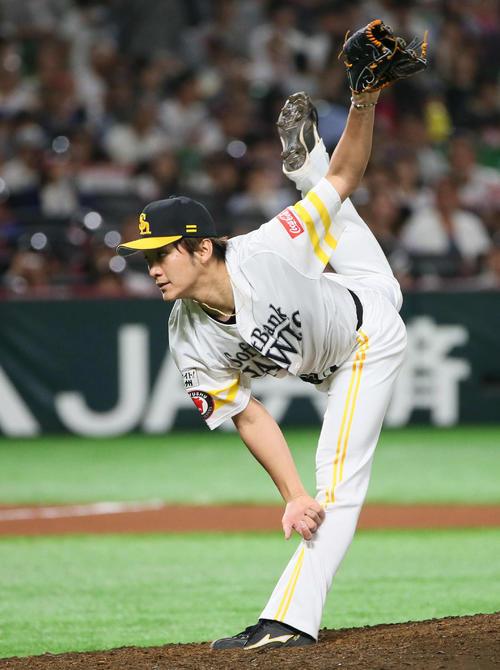 ソフトバンク対オリックス 6回表から登板した松田遼は2回を無失点に抑える(撮影・栗木一考)