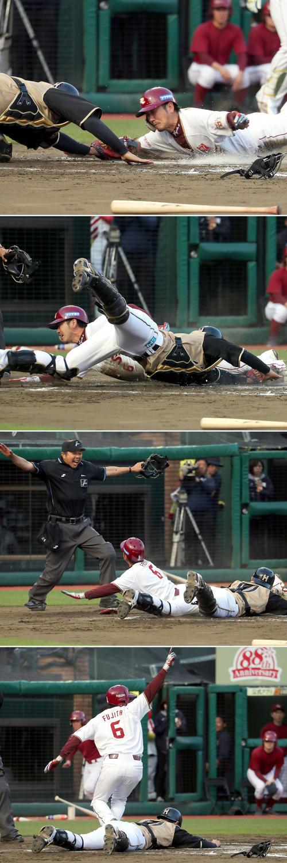 11回裏楽天1死一、三塁、ウィーラーの右犠飛で生還する藤田(撮影・佐藤翔太)