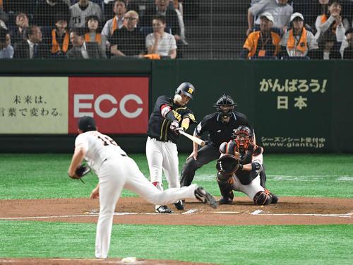 6回表阪神無死、木浪は右越えソロ本塁打を放つ。投手菅野(撮影・山崎安昭)