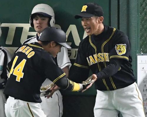 巨人対阪神 7回表阪神無死、矢野監督(右)はソロ本塁打を放った梅野とタッチをかわす(撮影・山崎安昭)