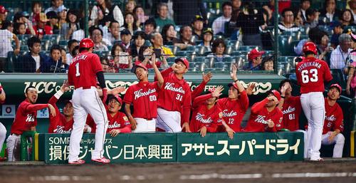 阪神対広島 9回表広島2死満塁、会沢翼の左への走者一掃適時三塁打で生還した鈴木誠也らを出迎える選手たち(撮影・清水貴仁)
