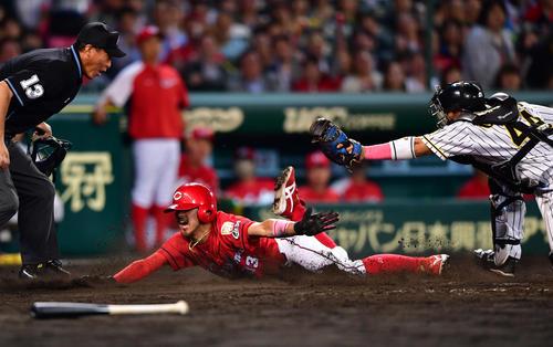 阪神対広島 9回表広島2死一、二塁、鈴木誠也の左前適時打で二塁から生還する菊池涼介(撮影・清水貴仁)
