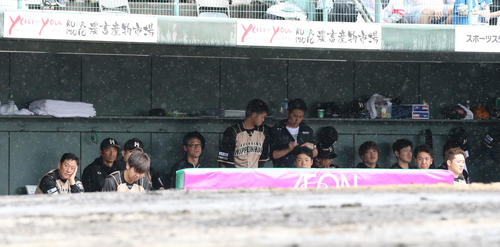 ソフトバンク対日本ハム 5回に降雨のため試合が中断となりベンチで試合再開を待つ日本ハムナイン(撮影・梅根麻紀)