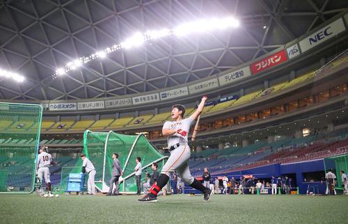 中日対巨人 試合前、ロングティーを行う巨人岡本(撮影・垰建太)