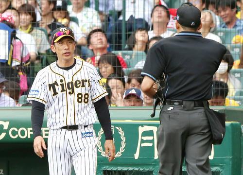 阪神対広島 9回表、矢野監督は主審に交代を告げる(撮影・上山淳一)