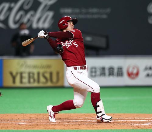 日本ハム対楽天 5回表楽天無死、右越え本塁打を放つ茂木(撮影・黒川智章)