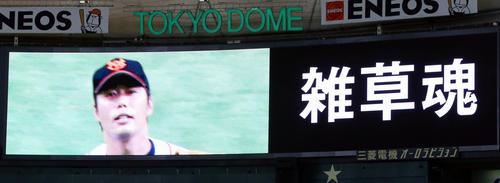 巨人対広島 試合前、巨人の選手たちがグラウンドに入る際、ビジョンに映される「雑草魂」の文字と上原氏の映像(撮影・垰建太)