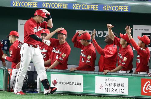 巨人対広島 2回表広島無死、鈴木(手前)は中越えソロ本塁打を放ち、頭を押さえるポーズでナインと喜び合う(撮影・浅見桂子)