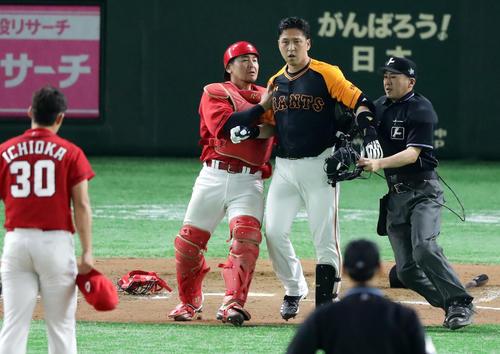 7回裏巨人1死一塁、代打中島は頭部死球を受け激怒しマウンドに向かう。投手一岡(撮影・浅見桂子)