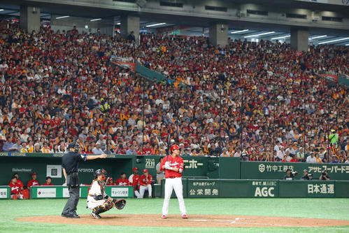 巨人対広島 7回表広島1死満塁、大歓声の中打席に入る代打長野(撮影・垰建太)