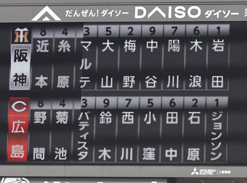 広島対阪神、スタメン(撮影・奥田泰也)