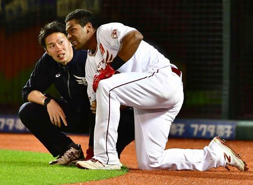 楽天対巨人 7回裏楽天2死、オコエ瑠偉は死球を受けて痛みをこらえる(撮影・小沢裕)