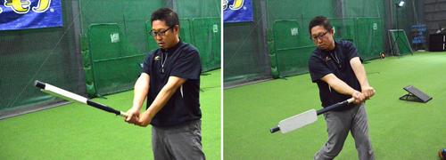 板バット 腕を正しく使い、バットが「面」でボールをとらえる感覚を養う。FF社のロゴマークを顔に向けて構え(左)、正しくスイングするとインパクトの瞬間(右)に板が地面と垂直になる。ボールの実打可能