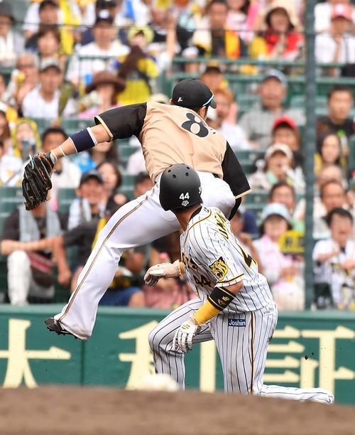 7回裏阪神1死二塁、三塁盗塁を決めた梅野は捕手清水の悪送球で同点の生還を果たす(撮影・上田博志)