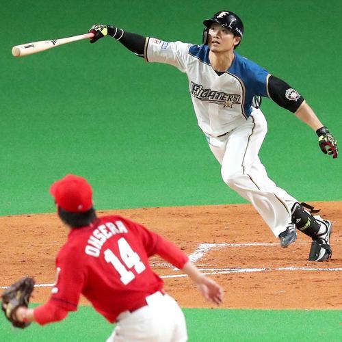 2回裏日本ハム1死満塁、西川は勝ち越しとなる適時内野安打を放つ。投手は広島大瀬良(撮影・佐藤翔太)